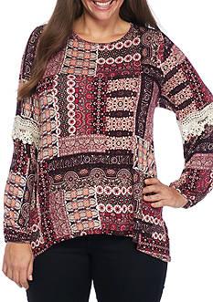 Eyeshadow Plus Size Patch Print Knit Top