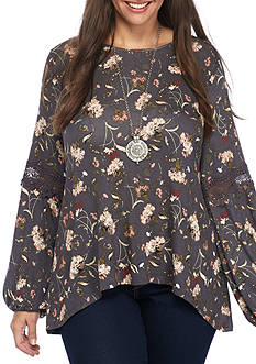 Eyeshadow Plus Size Floral Knit Top