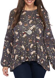 Eyeshadow Juniors plus long sleeved 10-crochet bell sleeve floral knit top