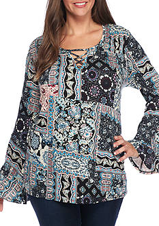 Eyeshadow Plus Size Patch Print Knit Top