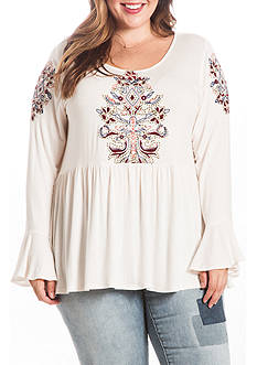 Eyeshadow Plus Size Knit Embroider Tunic