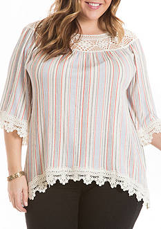 Eyeshadow Plus Size Crochet Printed Sharkbite Gauze Top