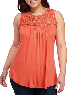 Eyeshadow Plus Size Battenberg Solid Swing Tank