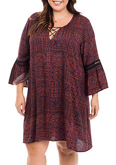Eyeshadow Plus Size Laceup Printed Shift Dress
