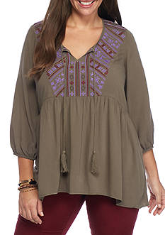 Eyeshadow Plus Size Embroidered Babydoll Woven Top