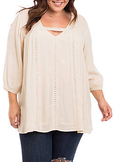 Eyeshadow Plus Size Crochet Keyhole Tunic