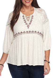 Eyeshadow Plus Size Embroidery Lace Knit Peasant Top