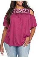 Eyeshadow Plus Size Embroidered Cold Shoulder Top