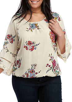 Eyeshadow Plus Size Floral Peasant Top with Crochet Cuff