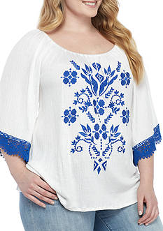 Eyeshadow Plus Size Embroidered Off The Shoulder Peasant Top