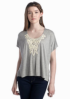 Eyeshadow Crochet Front Knit Top