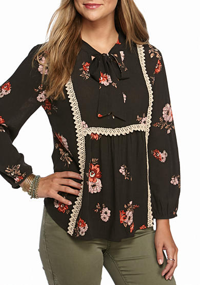 Eyeshadow Floral Tie Neck Blouse