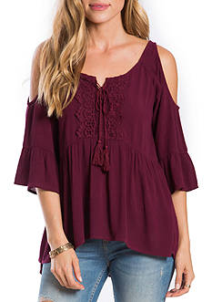 Eyeshadow Lace Up Cold Shoulder Top