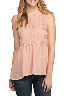 Eyeshadow Sleeveless Lace Front Empire Top