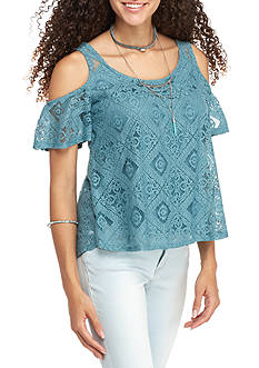 Eyeshadow 5 Cold Shoulder Lace Knit Top