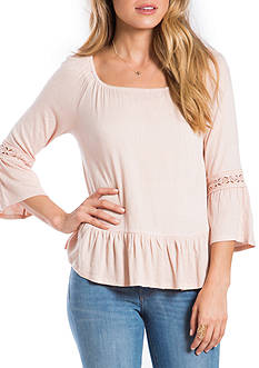 Eyeshadow Solid Peasant Flounce Hem Top