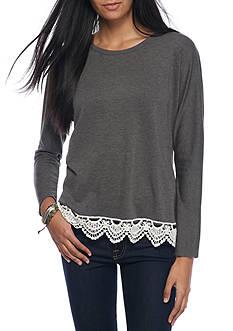 Eyeshadow Crochet Hem Tulip Back Sweatshirt