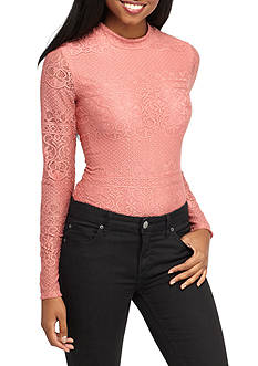 Eyeshadow Body Suit Mock Neck With Lace Top