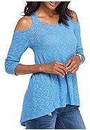Eyeshadow Solid Cold Shoulder Ribbed Top