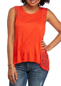 Eyeshadow 3 Inch Trim Lace Tank with Scoop Neckline