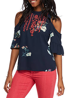 Eyeshadow Floral Cold Shoulder Top