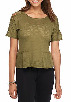 Eyeshadow Lace Shoulder Peplum Top