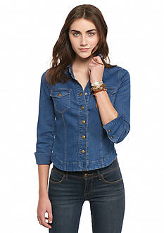 Free People Slim Button-Down Denim Top