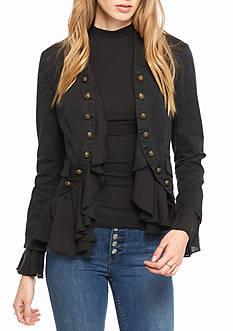 Free People Romantic Ruffles Cotton Twill Jacket
