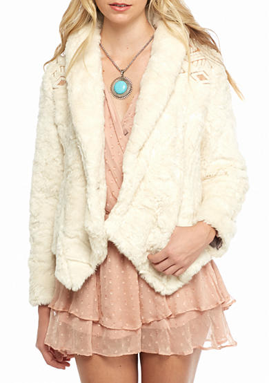 Free People Embroidered Cascade Faux Fur Jacket