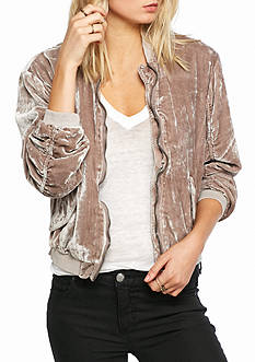 Free People Rouched Velvet Bomber