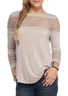 Free People Mesh Insert Roxie Hi-Lo Top