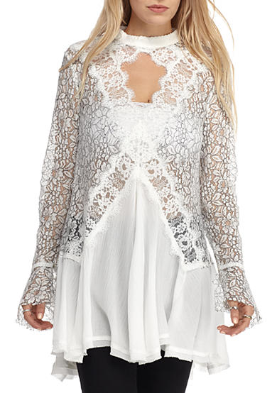 Free People Lace Long Sleeve Tunic Top