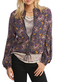 Free People Printed Balloon-Sleeve Jacket