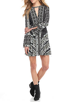 Free People Tegan Border Print Mini Dress