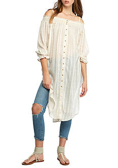 Free People Wild Adventures Cold Shoulder Maxi Shirt
