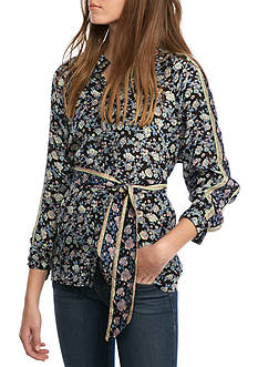 Free People Skyaway Drive In Floral Top