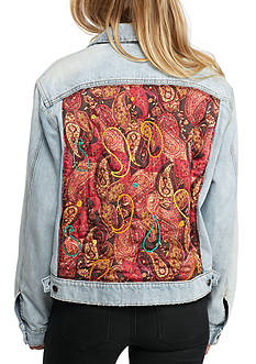 Free People Paisley Back Denim Jacket