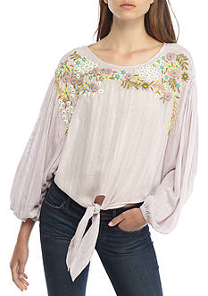 Free People Up & Away Embroidered Top