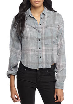 Free People Cropped Cutie Plaid Top