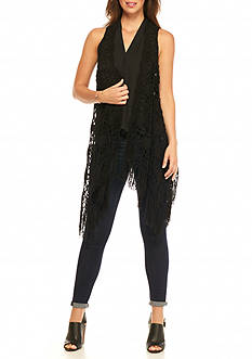 Fever Crochet Fringe Hem Vest