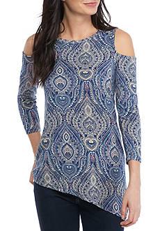 Fever 3/4 Sleeve Cold Shoulder Knit Top