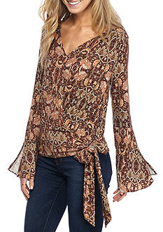 Fever Faux Wrap Bell Sleeve Top