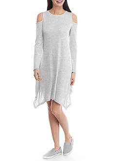 Fever Solid Terry Cold Shoulder Dress