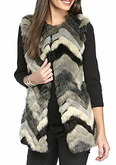 Fever Multi-Colored Chevron Fur Vest