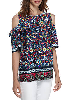 Fever Printed Cold Shoulder Top
