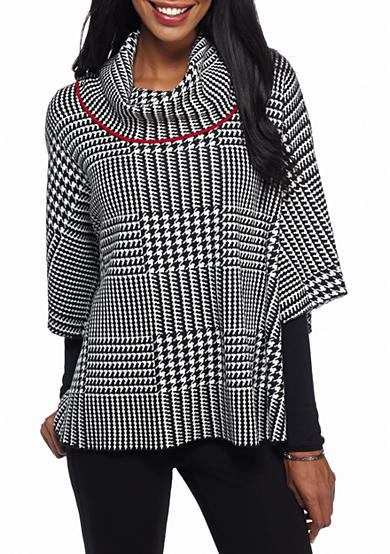 Fever Animal Cowl Neck Poncho