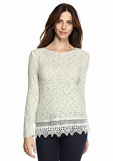 Fever Crochet Hem Sweater