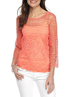 Fever Crochet Lace Popover Top