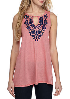 Fever Sleeveless Embroidered Knit Top