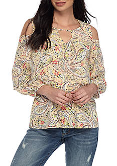 Fever Flounce Cold Shoulder Top